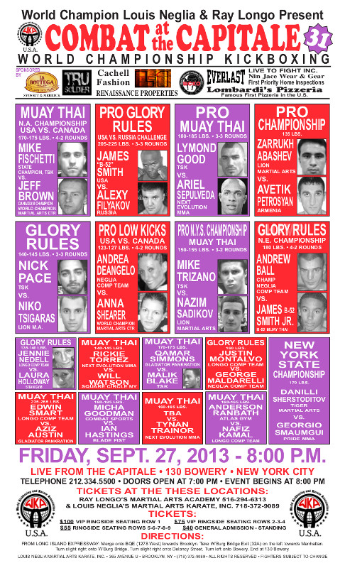 Tiger Schulmann's Martial Arts   Combat at the Capitale Banner Ad