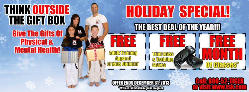Tiger Schulmann's Martial Arts | TSMA Gift Boxes and Holiday Banner