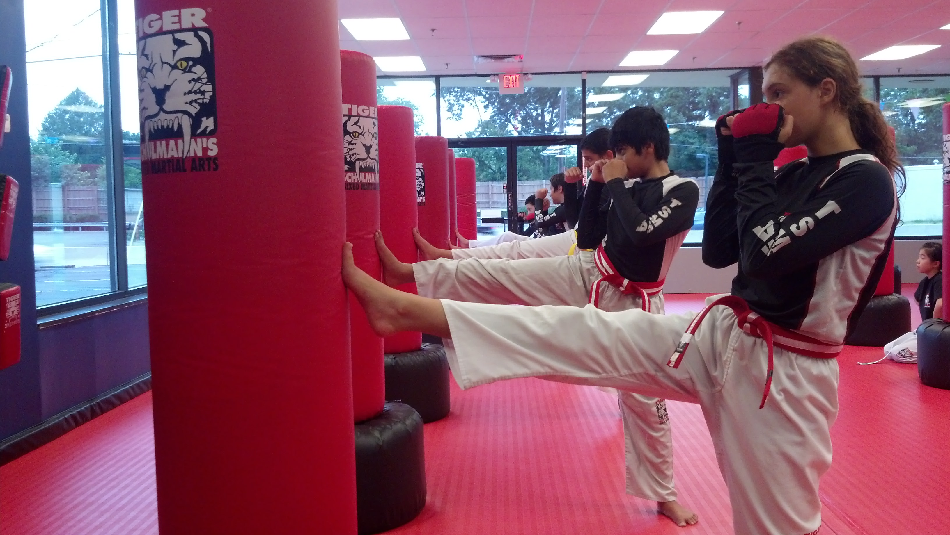 Tiger Schulmann's Martial Arts | Teens Kicking Bags